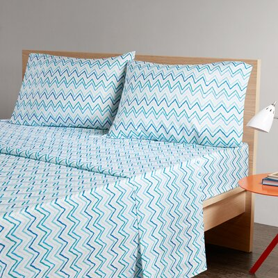 Chevron Printed Sheet Set Size: Full, Color: Green/Blue
