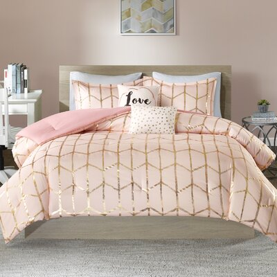 Carolan Comforter Set Size: King/California King, Color: Blush