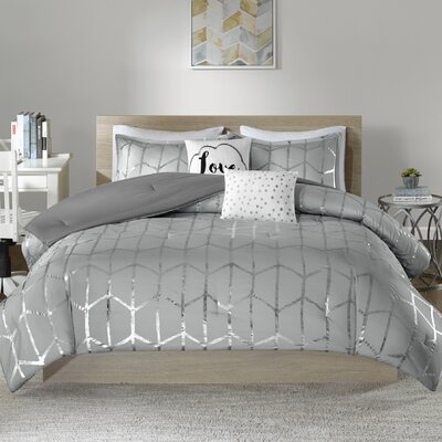 Carolan Comforter Set Size: King/California King, Color: Gray/Silver