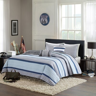Paul Coverlet Set Size: Full / Queen, Color: Teal / Grey
