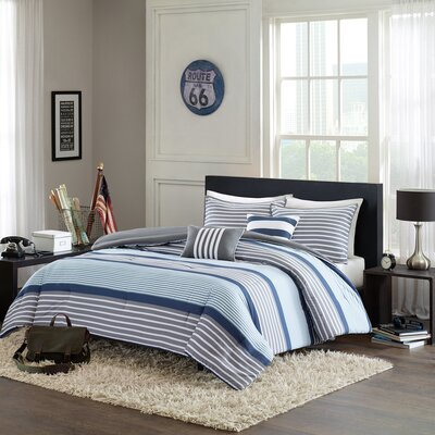 Paul Comforter Set Size: Full / Queen, Color: Blue / Grey