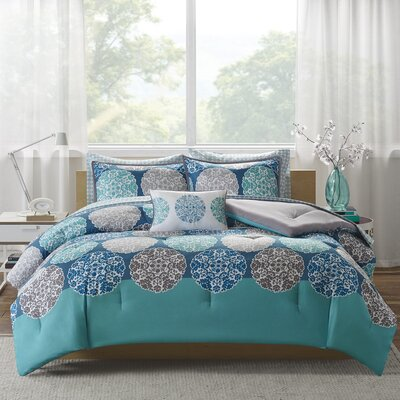 Marissa Complete Bed and Sheet Comforter Set Size: Full, Color: Blue