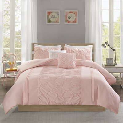 Neville Comforter Set Size: Twin/Twin XL, Color: Blush