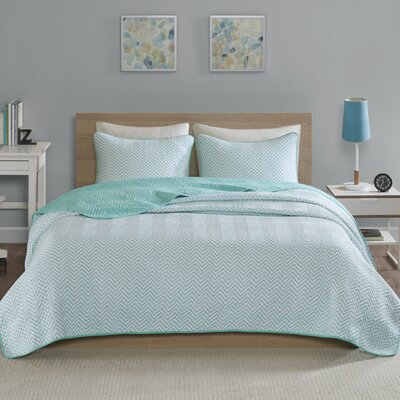 Kale Cotton Blend Jersey Knit Quilt Set Size: Full/Queen, Color: Aqua