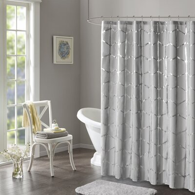 Carolan Printed Metallic Shower Curtain Color: Gray