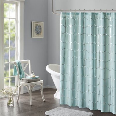 Carolan Printed Metallic Shower Curtain Color: Aqua
