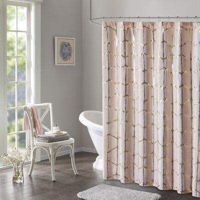Carolan Printed Metallic Shower Curtain Color: Blush