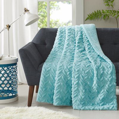 Pollard Textured Plush Down Alternative Throw Color: Aqua