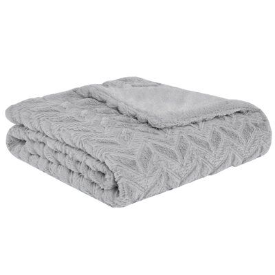 Pollard Textured Plush Down Alternative Throw Color: Grey