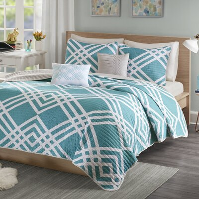 Driggers Ultra Soft Coverlet Set Size: Twin/Twin XL, Color: Aqua
