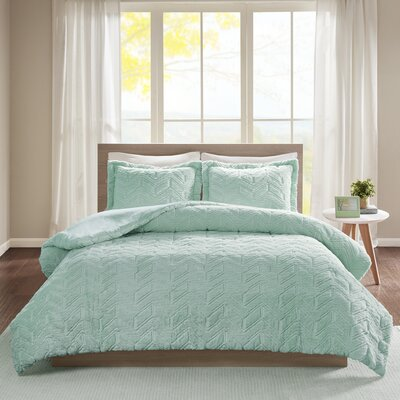 Folkes Embroidered Chevron Ultra Plush Comforter Mini Set Size: King/California King, Color: Aqua