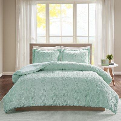 Folkes Embroidered Chevron Ultra Plush Comforter Mini Set Size: Full/Queen, Color: Aqua