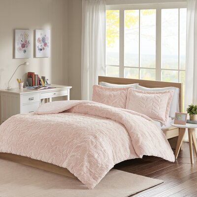 Folkes Embroidered Chevron Ultra Plush Comforter Mini Set Size: King/California King, Color: Blush