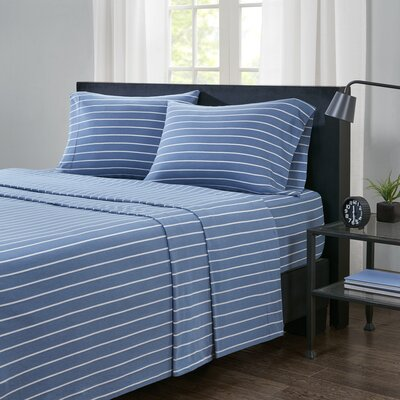 Zdenka Jersey Knit Sheet Set Size: Full, Color: Navy