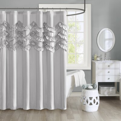 Avrah Ruffle Microfiber Shower Curtain Color: Gray