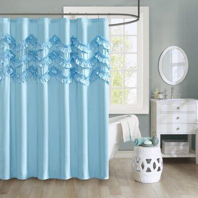 Avrah Ruffle Microfiber Shower Curtain Color: Blue