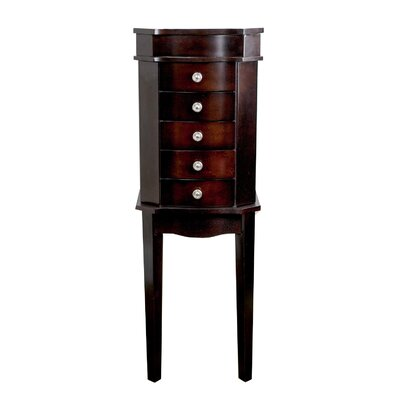 Meg Jewelry Armoire with Mirror Color: Espresso