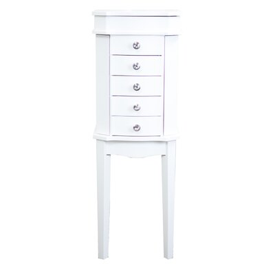 Meg Jewelry Armoire with Mirror Color: White