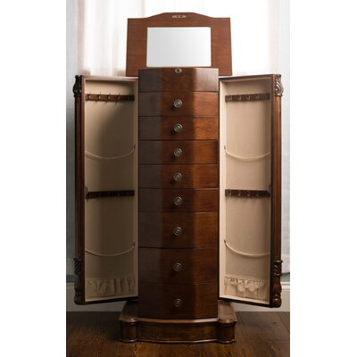Zakhar Free Standing Jewelry Armoire with Mirror Color: Walnut