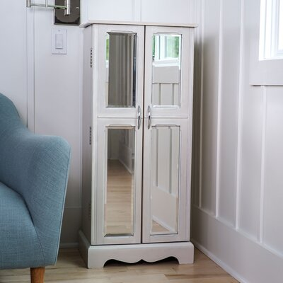 Chelsea Jewelry Armoire with Mirror Color: Cream