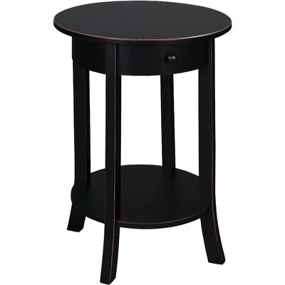 Olivia Round End Table Color: Black