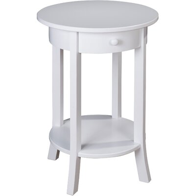 Olivia Round End Table Color: White