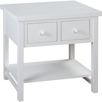 Farmhouse End Table With Storage Color: White