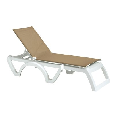 Calypso Chaise Lounge (Set of 2) Finish: White, Fabric: Beige