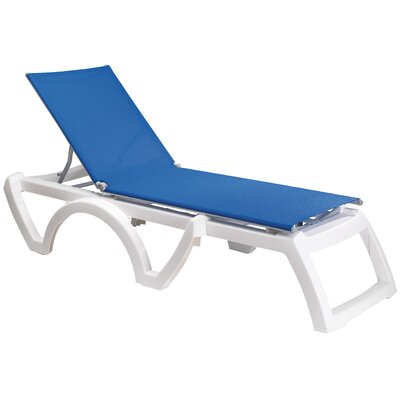 Calypso Chaise Lounge (Set of 2) Finish: White, Fabric: Blue