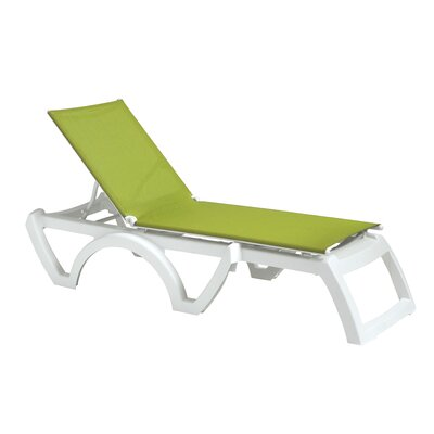 Calypso Chaise Lounge (Set of 2) Finish: White, Fabric: Fern Green