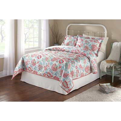 Coral Floral 3 Piece Quilt Set Size: Full/Queen