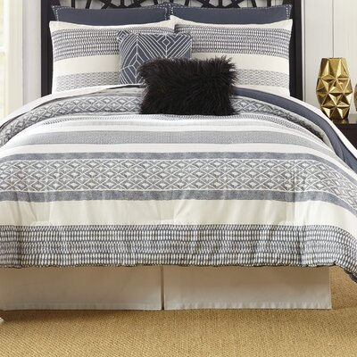 Deco Stripe 7 Piece Comforter Set Size: King