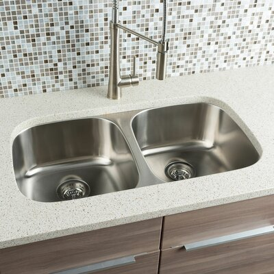 Classic Chef 32.25 x 18 Double Bowl Undermount Kitchen Sink