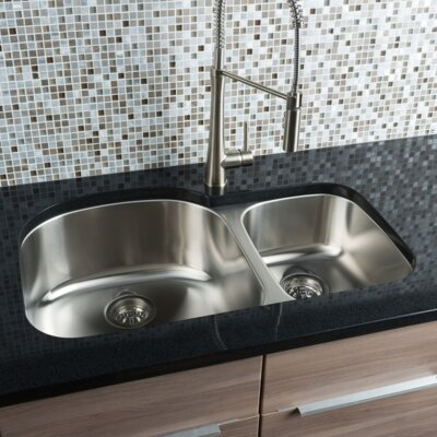 Classic Chef 32.38 x 20.5 Double Bowl Undermount Kitchen Sink