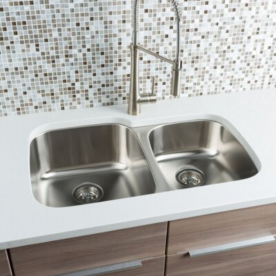 Classic Chef 32 x 20.63 Double Bowl Undermount Kitchen Sink