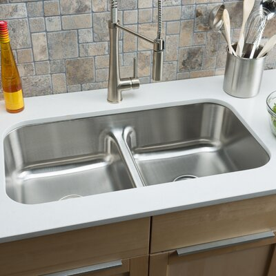 Classic Chef 32.5 x 18.13 Double Bowl Undermount Kitchen Sink