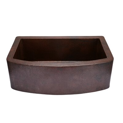 33 x 22  Copper Curved Front Single Bowl Farmhouse Kitchen Sink