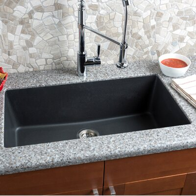 33 x 18.5 Granite Extra Large Single Bowl Kitchen Sink Finish: Black