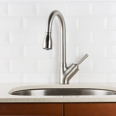 Deck Mounted Single Handle Pull Down Kitchen Faucet Finish: Stainless Steel