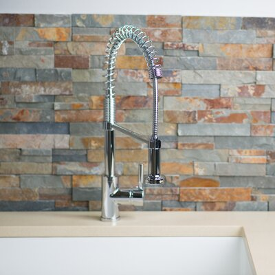 Deck Mounted Single Handle Pull Down/Pull Out Kitchen Faucet Finish: Stainless Steel