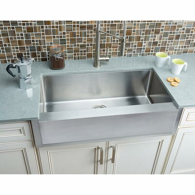 Notched 35.88 x 20.75 Single Bowl Farmhouse Kitchen Sink