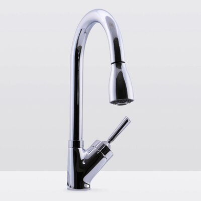Deck Mounted Single Handle Pull Down Kitchen Faucet Finish: Chrome