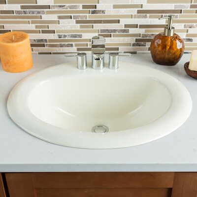 Ceramic Oval Drop-In Bathroom Sink with Overflow Sink Finish: Bisque