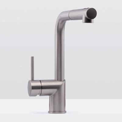 Deck Mounted Single Handle Pull Out Kitchen Faucet Finish: Stainless Steel