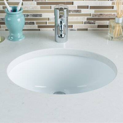 Ceramic Bowl Oval Undermount Bathroom Sink with Overflow Sink Finish: White