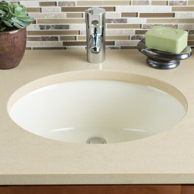 Ceramic Bowl Oval Undermount Bathroom Sink with Overflow Sink Finish: Bisque
