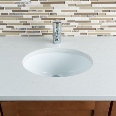 Ceramic Oval Undermount Bathroom Sink with Overflow Sink Finish: White