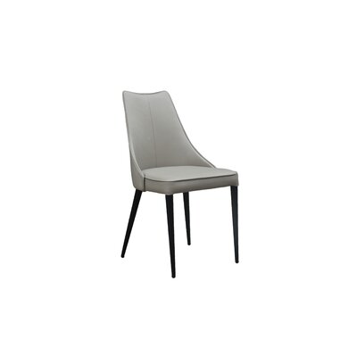 Saramarie Genuine Leather Upholstered Dining Chair Color: Taupe/Gray