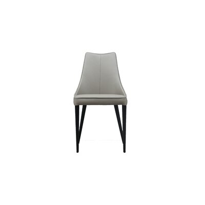 Bomar Genuine Leather Upholstered Dining Chair (Set of 2) Color: Taupe Gray