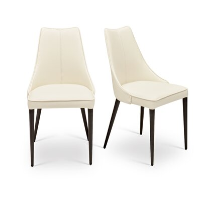 Saramarie Solid Back Upholstered Dining Chair (Set of 2) Color: White